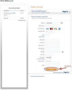 Step three for paying with PayPal using your Credit Card