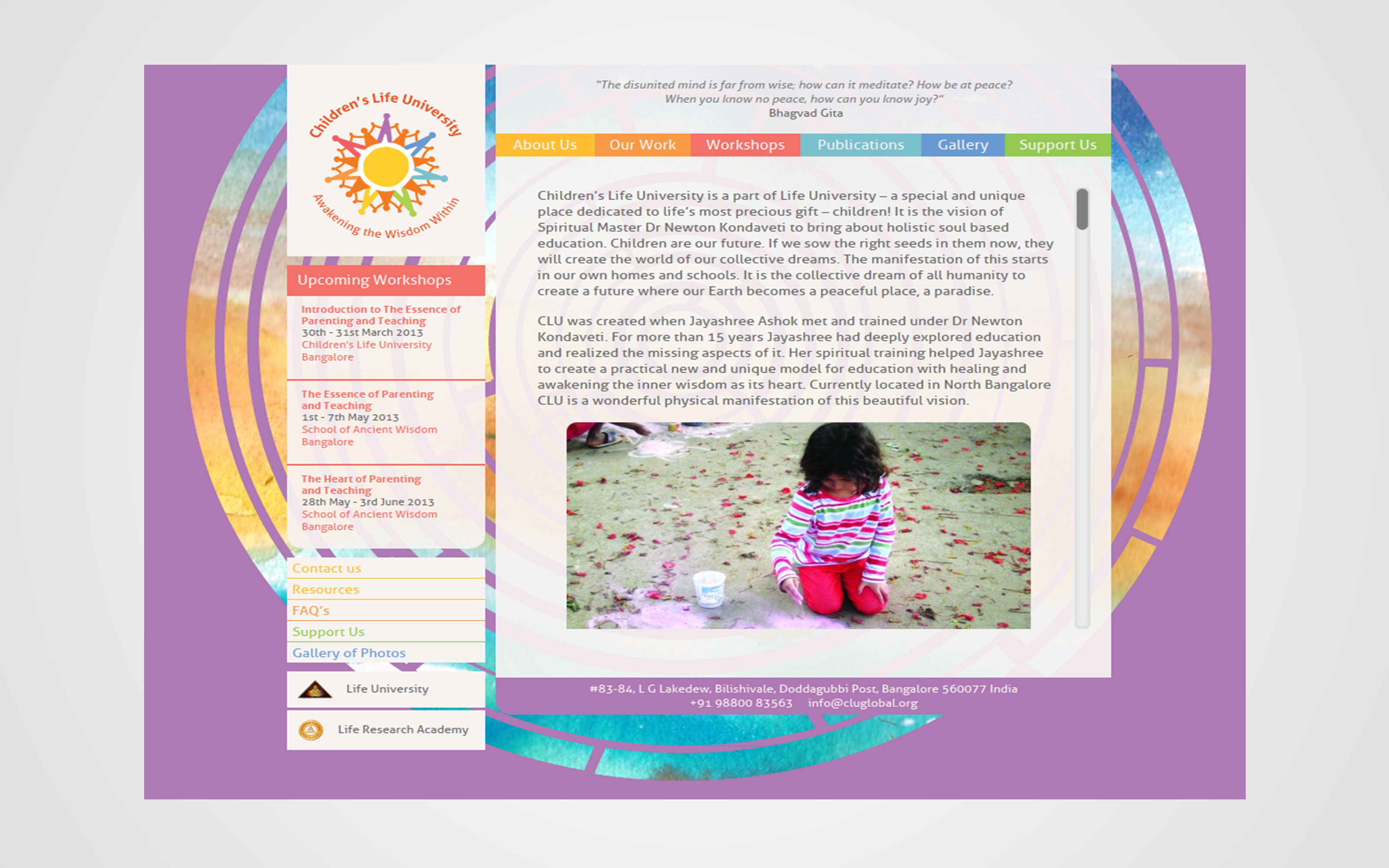 Website Development project for Children's Life University based in Bangalore India